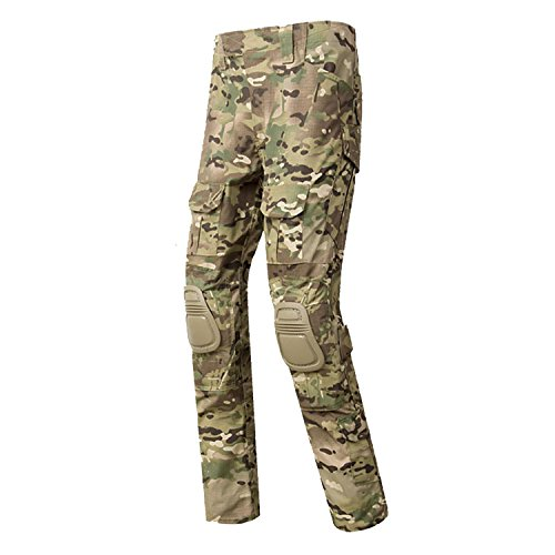 QMFIVE Paintball Pants, Men's Shooting Camo Combat BDU Combat Pants Pantaloni con Ginocchiera per Tactical Military Army Airsoft Paintball