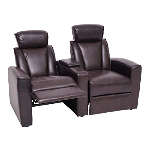 Mendler 2er Kinosessel HWC-H30, Relaxsessel Fernsehsessel Zweisitzer Sofa, Fach Getränkehalter Soft Touch Kunstleder - braun