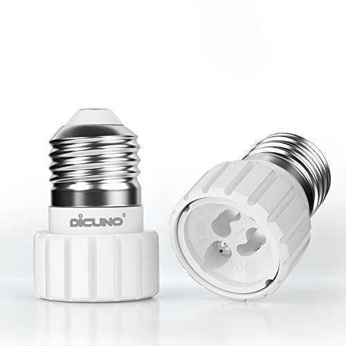 DiCUNO E27 vers GU10 Adaptateur de douille de 2 pièces, convertisseur de socket, Douille base de lampe pour ampoules LED et ampoules à incandescence ou ampoules fluocompactes