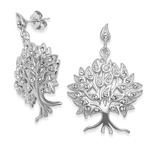 Heather Needham Sterling Silver Tree of Life Earrings with Clear Cubic Zirconia stones Size: 25 x 20mm. LAST PAIR REDUCED PRICE Gift boxed 7297CZ