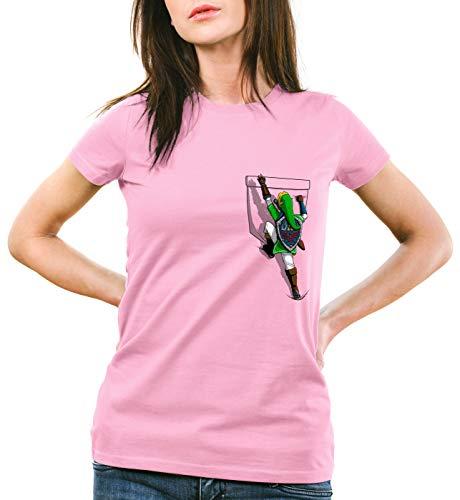 style3 Link Bolsill Camiseta para Mujer T-Shirt Wild Switch The Breath of SNES Ocarina, Color:Rosa, Talla:XL