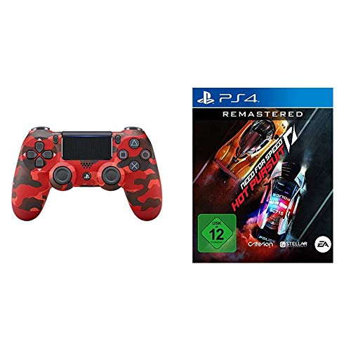 PlayStation 4 - DualShock 4 Wireless Controller, Rot Camouflage (exklusiv bei Amazon) + NEED FOR SPEED HOT PURSUIT REMASTERED - [Playstation 4]
