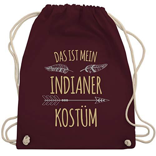 Shirtracer Karneval & Fasching - Das ist mein Indianer Kostüm - Unisize - Bordeauxrot - indianer-kostüm - WM110 - Turnbeutel und Stoffbeutel aus Baumwolle