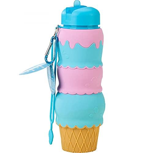 JunJia Botella de Agua Plegable de Silicona para Estudiantes, Deportes al Aire Libre, Taza de Agua, Dibujos Animados sin BPA, a Prueba de Fugas, duradera-700 ml