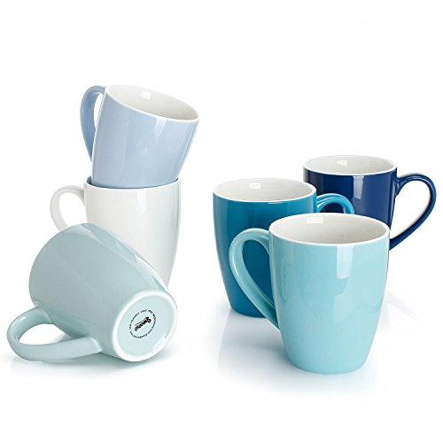 Sweese 601.003 Porcelain Mugs - 16 Ounce for Coffee, Tea, Cocoa, Set of 6, Cool Assorted Colors