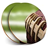 Great Coasters (Set of 2) Round with - American Football Leather Ball Drink Glossy Coasters/Tabletop Protection for Any Table Type #16459