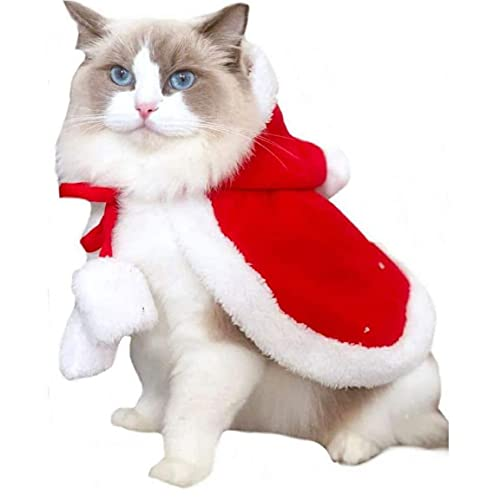 Capa de Navidad para Mascotas, Capa de Gatos de Navidad, Cape de algodn Suave Cape Cape Capa de Capa Disfraz de Dog Disfruje con Santa Hat, L