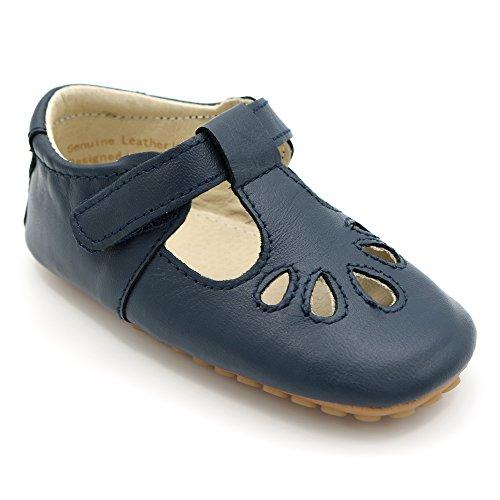 Zapatos para bebé en Cuero de Lujo para Fiestas, Bodas y Ocasiones Especiales. Cuero en Azul Marino. Primeros Pasos, Tallas 20 EU