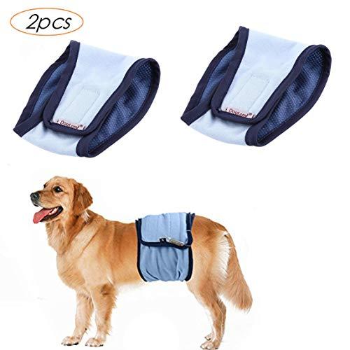Tineer Reusable Wrap Pañales a Prueba de Fugas para Perros Mascotas, Cachorros Lavables, Banda de Vientre, fisiológicos, Pantalones Sanitarios (Paquete de 2) (M, 2pcs Azul)