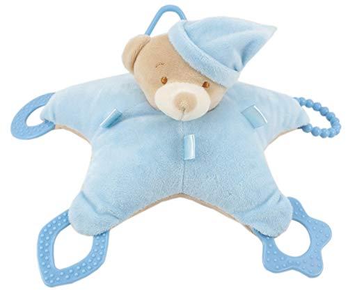 Duffi Baby-Peluche Osito y Mordedor, 100% Poliéster, Color Azul (Master Baby Home, S.L. 0766-12)
