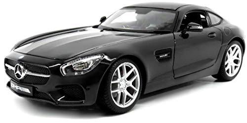 Maisto Mercedes AMG GT, Modellauto mit Federung, Maßstab 1:18, Türen und Motorhaube beweglich, Fertigmodell, lenkbar, 24 cm, schwarz (536204)