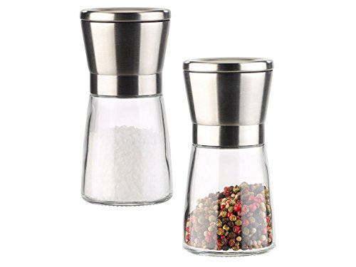 PEARL Salzmühlen: Manuelle Gewürzmühle mit Keramik-Mahlwerk, Glas und Edelstahl, 2er-Set (Gewürzmühle mit Keramikmahlwerk)