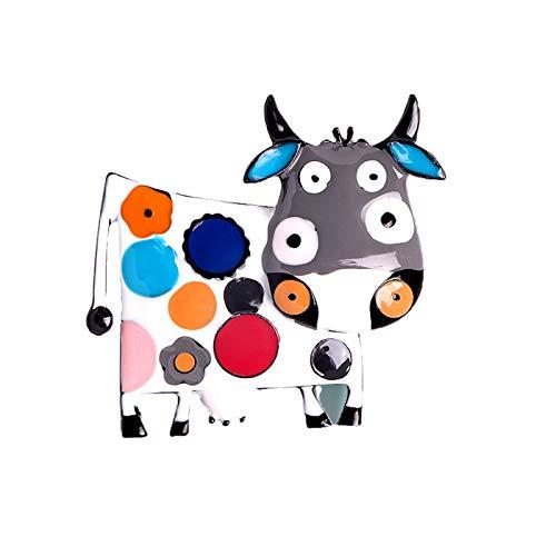 Broche unisex con incrustaciones de diamantes de imitación del zodiaco de vaca, regalo de Año Nuevo - B