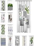 Duschvorhang 180x200 cm wasserabweisend Badewannen Vorhang inklusive 12 Ringe, Farbe:Harmonie Stone grau