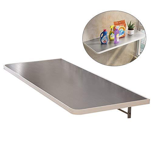 Küchentische Edelstahl Klapptisch Regal für Esstisch, Werkbank, Wand Befestigtes Tropfen-Blatt Schreibtisch, Mehrere Größen (Size : L 60×W 40cm)