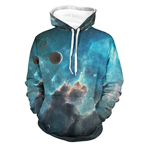 Camiseta con capucha para hombre, diseño de estrellas azules con estampado de fantasía, estilo vintage, manga larga para conducir a un lado con bolsillos blanco S