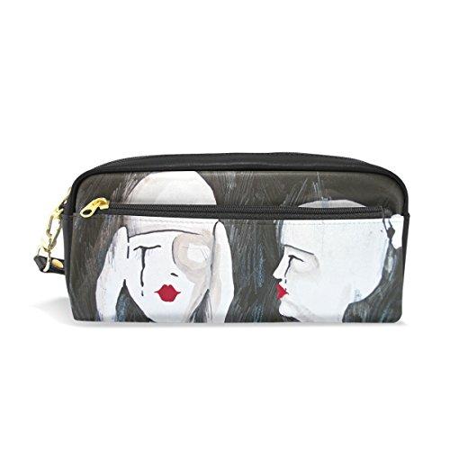Estuche para lápices, dos mujeres Abstarct pintura impreso bolsa de viaje maquillaje gran capacidad impermeable cuero 2 compartimentos para niñas niños mujeres hombres