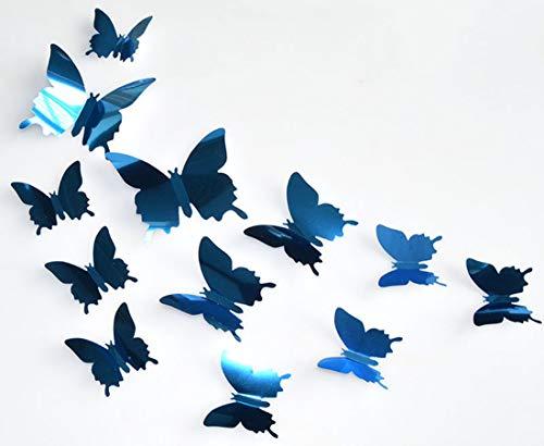 ALLICERE 12 x 3D-Spiegel-Schmetterlinge-Kombination, Wandaufkleber, elegante Wandaufkleber, Wandaufkleber, Dekoration für Babys, Kinderzimmer, Wohnzimmer, Klassenzimmer, Büro, Blau