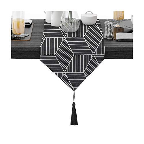 Rubyia Corredor Mesa, Patrón de Geometría Table Runner para Cenas Fiestas Decoración del Hogar, Algodón, 30 x 180 cm, Negro