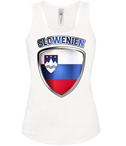 Slowenien Slovenia Slovenija Fussball Fußball Trikot Look Jersey Fanshirt Damen Frauen Mädchen Tank Top T-Shirt Tanktop Fan Fanartikel Outfit Bekleidung Oberteil Artikel