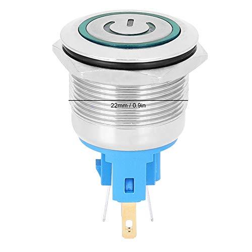 Interruptor de botón pulsador, botón de bloqueo automático antioxidante Protección IP65 para componente electrónico para fábrica de uso general para reemplazo(green, Pisa Leaning Tower Type)
