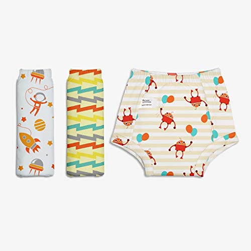Superbottoms Padded Underwear-Pack of 3 Potty Training Pants for Babies/ Toddlers/ Kids. 100% Cotton,Padded,Semi Waterproof,Pull Up Underwear Trainers For Girls and Boys (Size 2, Star Gazer)