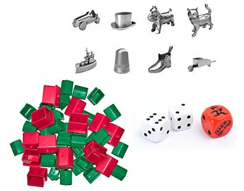 div Hasbro 90002 Bundle - Monopoly - Zubehör Set mit Spielfiguren - Häuser - Hotels - Würfel
