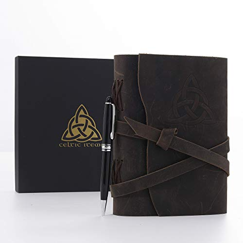 Celtic Items Leather Journal Gift Set with Pen, Handmade Unlined Bound Personal Journal, Celtic Knot Symbol, Rustic Leather Notebook for Women and Men, 5x7 inch, Brown Genuine Leather, Birthday Gift