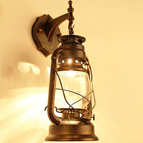 Wandlampen - Retro Nostalgische Schmiedeeisen Laterne - Antike Petroleumlampe Wandlampe - Treppenhaus Ganglichter Shop Dekoration Lampen Wasserdichte Außenleuchte - Schwarz/Messing-E27 (1 Packung)