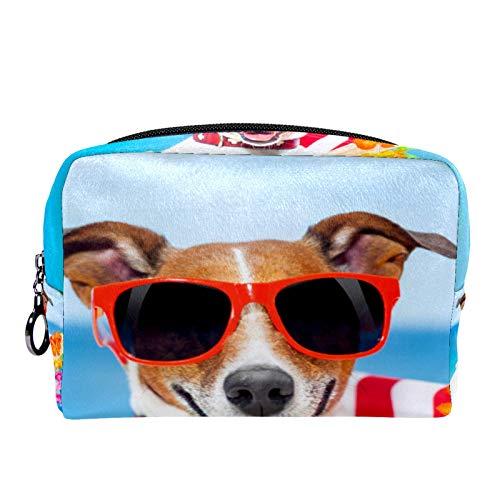 Kosmetiktasche Reise-Toilettenartikel für Frauen Tägliche tragbare Reißverschlusstasche mit Reißverschluss,Dog Relaxing Fancy Red Chair