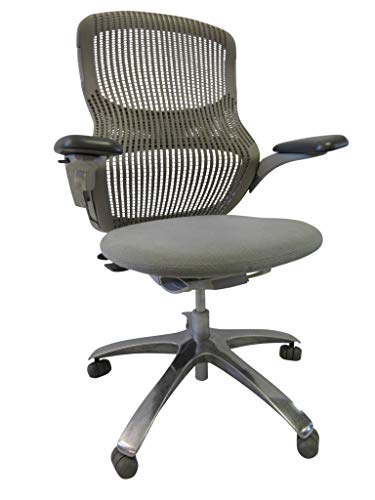 Knoll Generation Grey Office Chair - Fully Adjustable Arms with Ergonomic - Lumbar Support - Aluminum Base - Seat Slider Great for Conference Rooms