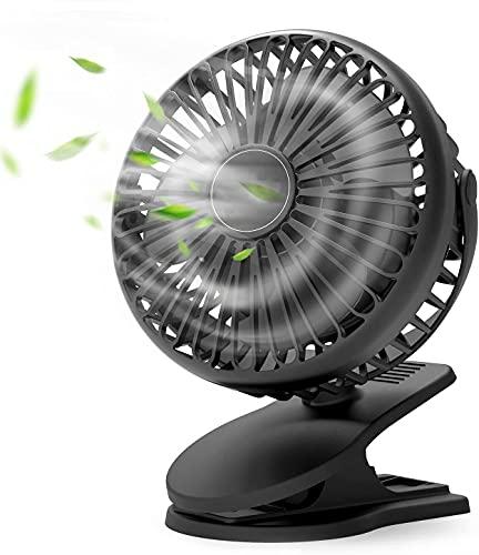 Mini Ventilatore USB, Ventilatore Portatile Piccolo con Clip 3 Velocità Rotazione 720 °, Ventilatore Silenziosoa con 5000mAh Batteria per Casa,Ufficio