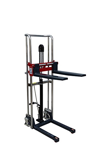 Pake Handling Tools -Fork Type Manual Stacker- Affordable and Easily Transportable Lift- 880 lbs Capacity