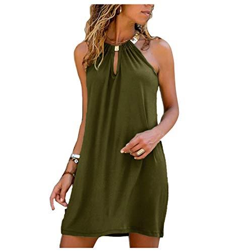 SolaXii Vestido de verano para mujer, elegante, corto, sin espalda, hombros descubiertos, minivestido de verano, informal, largo hasta la rodilla, vestido para mujer Verde militar M-36/38/40