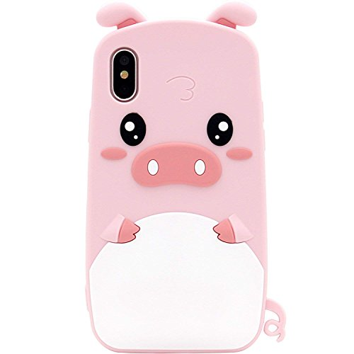 SevenPanda iPhone XR Case, iPhone XR 6.1' Pig Case, Soft Silicone Rubber Gel 3D Cartoon Cute Unique Fashion Design Funny Case and Protective Shockproof Soft Phone Cover - Pink