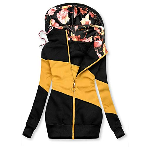 Lazzboy Winterjacke Frauen Winter Camouflage Spleißen Prints Jacke Reißverschluss Sweatshirt Langarm Mantel Sweatjacke Damen Lang Herbst Hoodie Mit Kapuze Rollkragen (T-Gelb,XL)