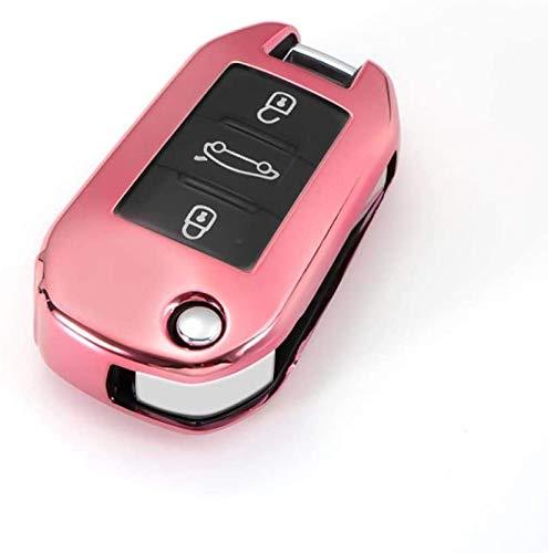 WASHULI COVIDOR DE Cable DE Cable DE Cable Cubierta TPU Flip para Citroen C4 Cactus C5 C3 C4L Peugeot 508 301 2008 3008 408 Botón Resistente a los arañazos (Color : Pink)