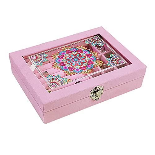 TaoHaoHuo Caja organizadora de joyas para mujeres y niñas, caja de almacenamiento de joyas con diamantes 5D para manualidades, anillos, pendientes, collares, 20 x 15 x 5 cm