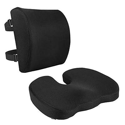 Amazon Basics - Cojín de asiento y cojín lumbar, espuma viscoelástica, color negro, juego de 2