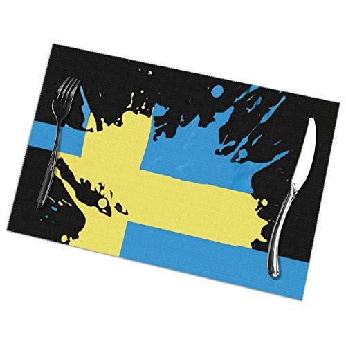 Harry wang Tischsets für Esstisch 6er-Set, Tischdecke mit schwedischer Flagge