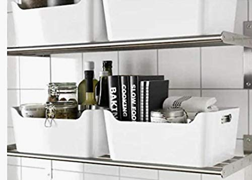 Ikea IKE-103.351.06 Variera-Caja de almacenaje apilable (24 x 17 x 10,5 cm, con asas), color blanco brillante, Breite:24 cm-Tiefe:17 cm-Höhe:10.5 cm