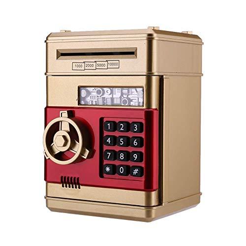 PowerKing Spardosen,lektronischer Cartoon-Geldautomat Sparschwein Safe Spardosen - Passwort Geld Sparschwein Spargeld Münze Penny für Kinder (ATM Gold)