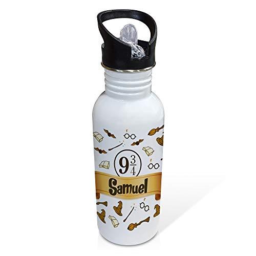 LolaPix Botella para Fans Personalizada con Nombre. Regalos para Fans Personalizados. Botella Aluminio Personalizada. Harry Potter
