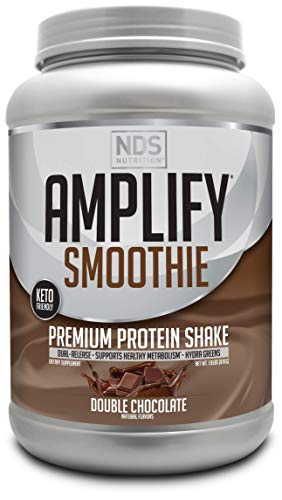 NDS Nutrition Amplify Smoothie Premium Whey Protein Powder Shake with Added Greens and Amino Acids - Build Lean Muscle, Gain Strength, Lasting Energy, and Lose Fat - Chocolate (30 Servings)