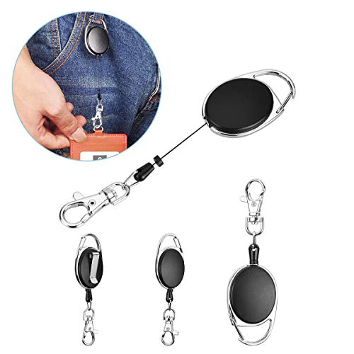 YoungRich 4PCS Retractable Key Chain for Man Woman Key Ring Chain with Belt Clip Extendable Strong Spring Lanyard Reel Badge Holder for Keys ID Card Black