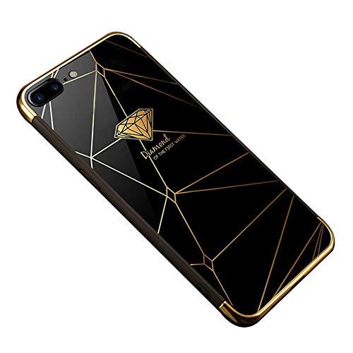 EUWLY Compatible avec Coque iPhone 7 Plus Coque iPhone 8 Plus Miroir Paillette Galvanoplastie TPU Silicone Ultra Mince Slim Anti Choc Soft Gel Bumper Étui Housse Case- Diamond,Noir