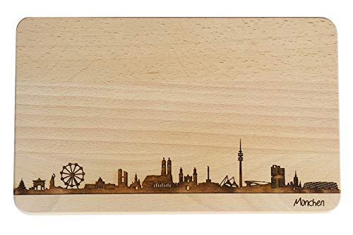 Brotzeitbrett München Skyline | Frühstücksbrettchen aus Buche | Holz Schneidbrett | Geschenk mit Gravur | Bayern | Frühstücksbrett (Standard (22x14x1cm), ohne persönlicher Gravur)