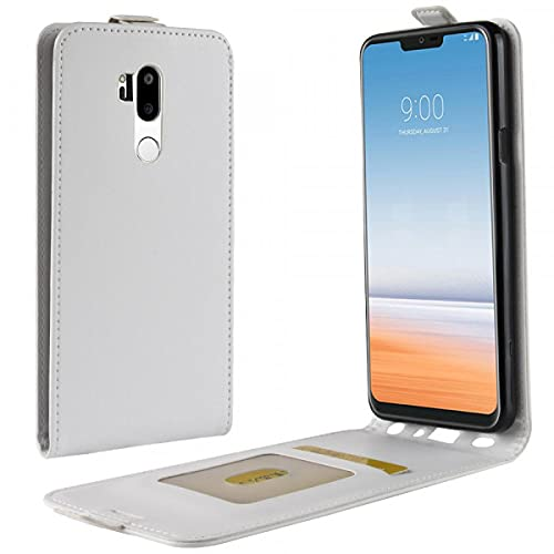 Cover-Discount Funda de Piel con Tapa para LG G7 con Compartimento para Fotos Vertical, Color Blanco