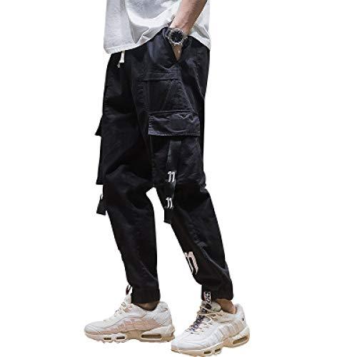 Pantalones Cargo para Hombre, Moda, Personalidad, cordón, Cintura elástica, 4 Bolsillos, Pantalones Holgados de Hip-Hop, Pantalones de Entrenamiento para Gimnasio 3XL