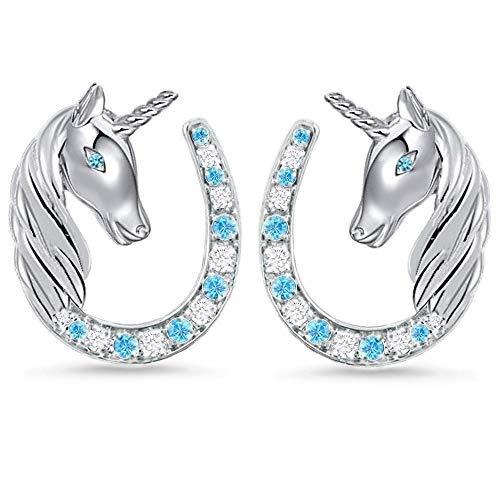 Orecchini a forma di unicorno con zirconi a forma di ferro di cavallo, da bambina, in vero argento Sterling 925 e Argento, colore: Blu / chiaro, cod. MN-101E